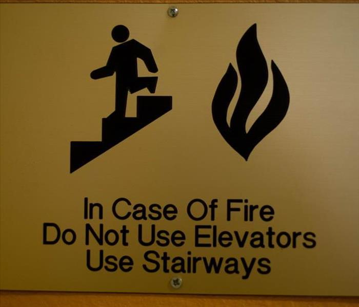 Signage to escape from a fire in a commercial building
